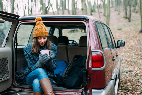 image of a woman sitting in a car during winter